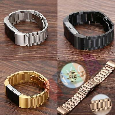 Luxury Genuine Stainless Steel Watch Band Wrist Strap For Fitbit Charge 2