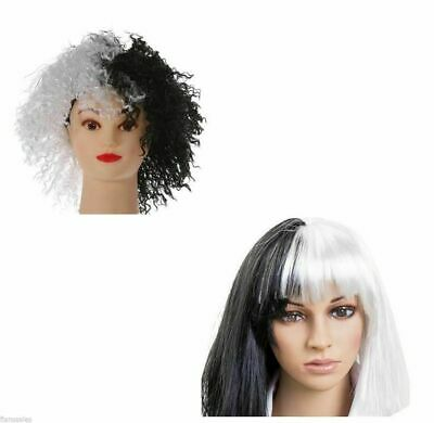 Adult Black and White Evil Dog Lady Wig Fancy Dress straight or curly wigs.