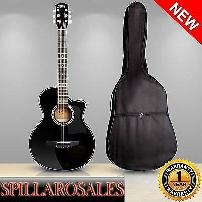 "38"" Wooden Acoustic Guitar Black Student Maple Wood Fingerboard 3/4"