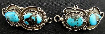 Vintage Old Pawn Silver and Turquoise Watch Tabs STERLING Antique *TB297