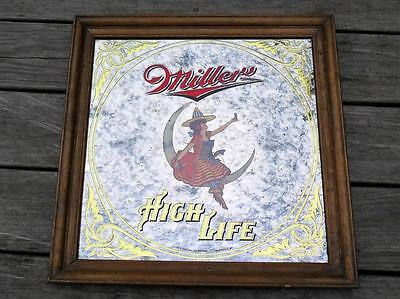VTG 1984 Miller High Life Girl on The Moon Beer Mirror Bar / Pab Ad Sign