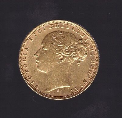 1872 S mint mark Sydney St George Young Head Victoria Gold Full Sovereign coin