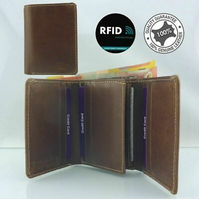 Genuine Mens Cowhide Oil Flow Leather Anti-RFID Blocking 9 Cards 3 fold Wallet