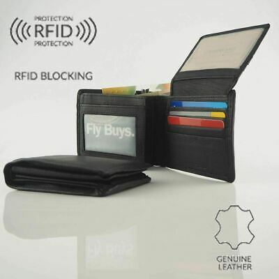 Men's Genuine Cowhide Soft Leather RFID protected 26 Cards Wallet Coin New Bla