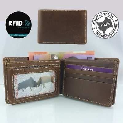 Men's Genuine Cowhide Oil Flow Leather RFID 18 Cards Wallet Coin New Brown 9678