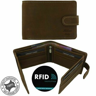 Genuine Mens Soft Cowhide Oil Flow Leather Anti-RFID Blocking Technology 22 Card