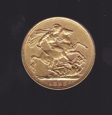 1893 St George Veiled Queen Victoria Gold Full Sovereign coin