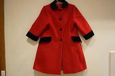 Marks & Spencer Stunning Red 3 Pieces Coat, Beret, Handbag To Suit 18-24 Months