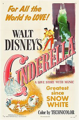 Cinderella Disney Movie Poster Film A4 A3 Art Print Cinema Vintage