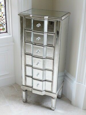 Venetian Mirrored & Distressed Antique Silver Tallboy Chest Of Drawers