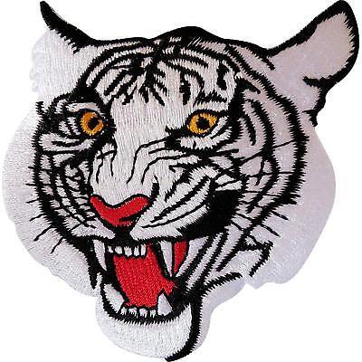 Iron On Embroidered White Tiger Patch / Sew On Motorcycle Motorbike Biker Badge
