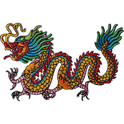 Iron On Embroidered Chinese Dragon Patch / Sew On Badge for T Shirts Bags Crafts