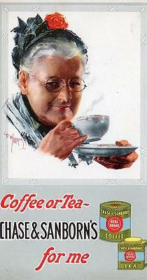 Vintage Ink Blotter*chase & Sanborn*coffee*tea*d Williams Artwork*old Woman