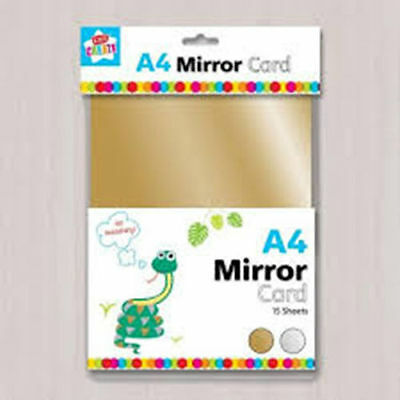 12 x A4 SHEETS 300gsm METALLIC COLOURED MIRROR CARD RED GOLD GREEN BLUE
