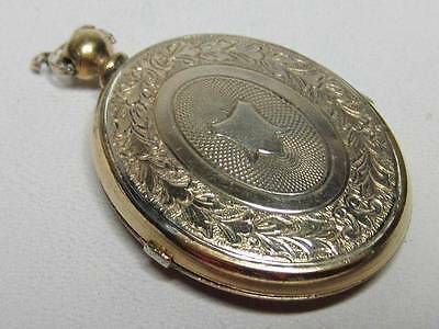 Antique Gold Filled Oval Double Stamped Design Photo Locket No mono Great Design