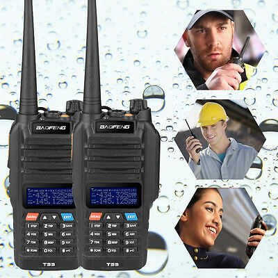 2x Baofeng T-55 136-174/400-520Mhz FM Radio Wasserdicht Walkie Talkie Business