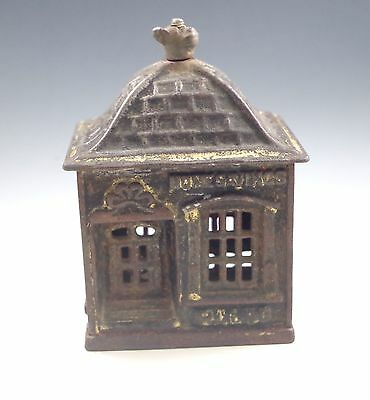 Antique Cast Iron Home Savings Bank, Dog Finial Cast Iron Penny Bank, C.1891