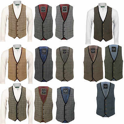 New Mens Tweed Waistcoat Herringbone Check Velvet Trim Vintage Formal Fit Vest