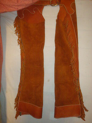 "Western Leather Chaps, Excellent Condition, Length 39"", Adjustable Waist 30-36"""