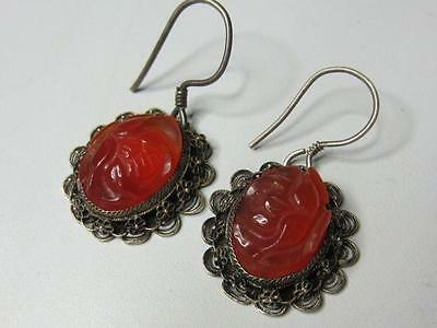 Antique Art Deco Chinese Silver Carved Flower Carnelian Dangle Earrings Signed