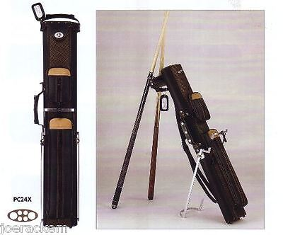 New J&J PC24X 2x4 Pool Cue Case with Stand - Black with Brown