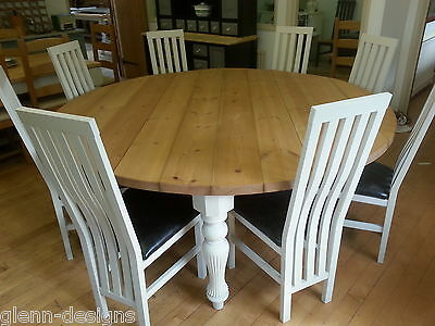 8,10,12,14 Seater Round Modern Victorian Fluted Leg Dining Table Chunky Top