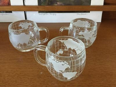 Set Of 3 Nestle Glass World Glasses Mugs Etched Clear Vintage Nescafe Coffee