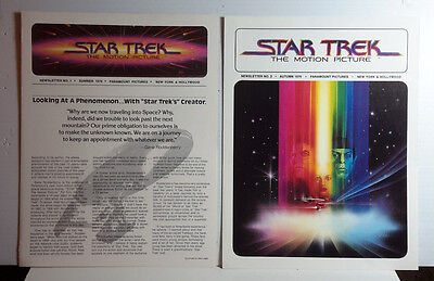1979 Star Trek:The Motion Picture Newsletter #1 & #2- Promos- Near Mint-FREE S&H
