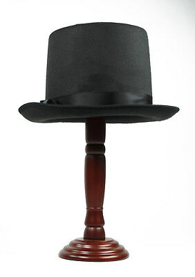 COACHMAN Flat Top SteamPUNK Victorian Dickens Costume Top Hat Black