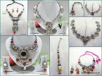 Eid special oxidised white metal Indian jewelry necklace earring bangles belt