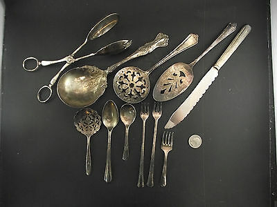 Antique Silverplate Lot Tomato ,  Berry Spoon ,  Olive Forks Childs Set Crafts