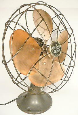 "VINTAGE art deco EMERSON 8""  BRASS BLADE OSCILLATING FAN - good working order"