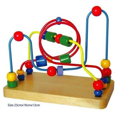 ACTIVITY 3 Wire BEAD MAZE Wooden Educational TOY Kids BABY TODDLERS PRESCHOOL