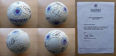 2009-10 Rangers Double Winners Squad Signed Football - Official COA (9135)
