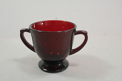 """Ruby Red Glass Sugar Bowl Unmarked  3"""" Tall"""