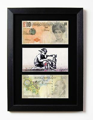 Two Framed & Mounted Banksy Di Faced £10 Note Tenners & Bunting Boy Print