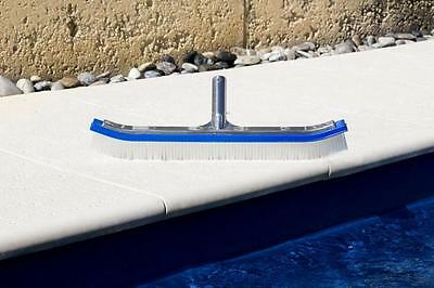 "18"" Pool Brush(Curved) with Aluminum Back and Handle-Nylon Bristle-Blue Body"