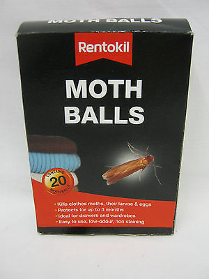 New Rentokil Moth Balls Kills Clothes Moths Larvae And Eggs PSM97 Pk20