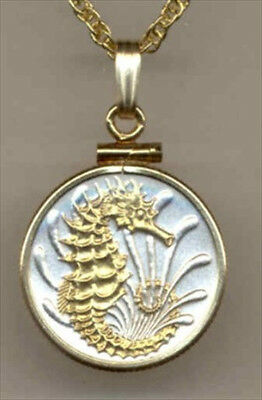 Custom Silver and Gold Coin Necklace, Singapore 10 cent Sea horse, S-138