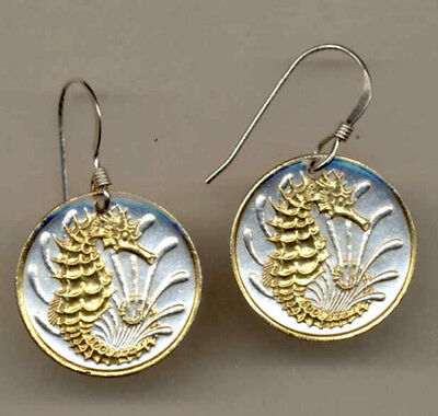 Gold on Silver Coin Earrings, Singapore 10 cent, Sea Horse, 138ERSS