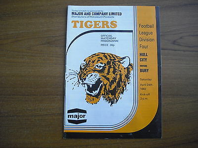 HULL CITY v BURY - APRIL 24th 1982