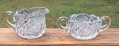 ABP Cut Glass J. Hoare Monarch Pattern Large Creamer and Sugar