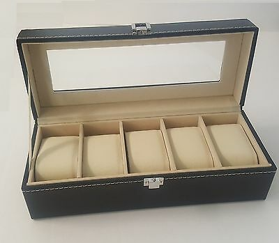 5 Grid Slots Leather Watch Case Gift Box Jewellery Display Storage Holder Black