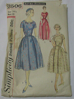 Vintage Simplicity 1950's Pattern 2506 Misses' Dress in 2 Lengths Size 14.5 B35