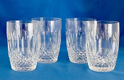 "4 WATERFORD CRYSTAL COLLEEN 10 oz FLAT TUMBLERS  4.25"" Old Mark - IRELAND Mint"