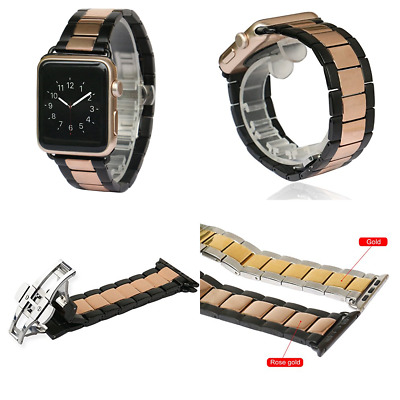 BLACK & ROSE GOLD STEEL Wristband Band Strap For iWatch 42MM APPLE WATCH