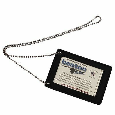 ASR Federal Leather Law Enforcement Neck Chain ID Badge Holder