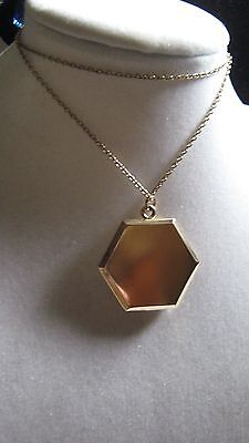 Antique Lovely Six Sided Bates & B Gold Filled Hexagon Locket and Chain