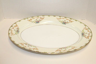 "Vintage Imperial China Japan 16"" X 12"" Platter; Green Edge Gold Scrolls Flowers"