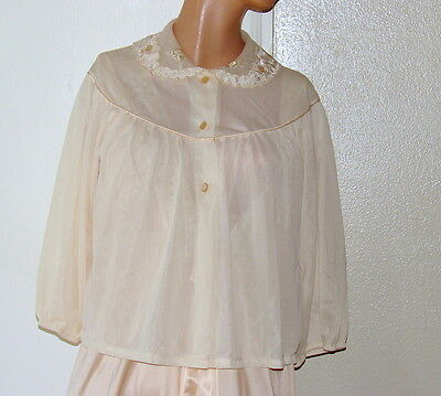 Vintage 50s-60s BED JACKET Sz M Beige Rounded Yoke and Collar